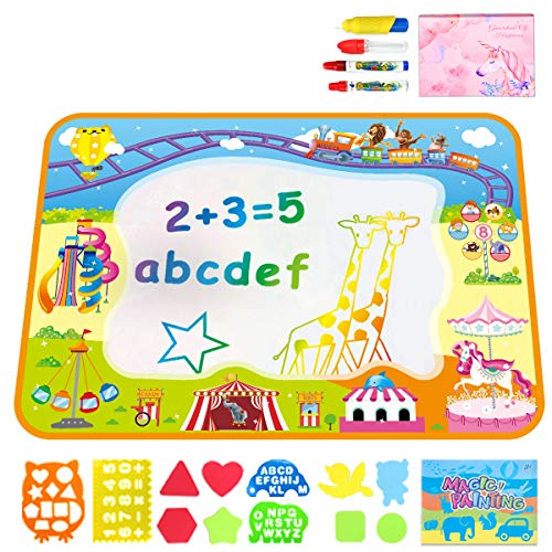 "Kids Boys Girls Outdoor Water Toddler Toys - Outside Toys Toddlers-Water Drawing Mat - Large Aqua Magic Doodle Mat 40"" X 28""- Educational Writing Mats -Gift for Kids Boys Girls for 2 3 4 5 6 Year Old"