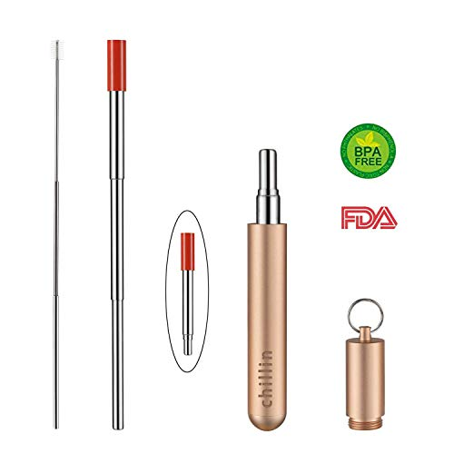 Portable Reusable Drinking Straws, Telescopic Stainless Steel Straws Set with Food-Grade Silicone, Drinking Travel Straws with Protection Box, Keychain & Cleaning Brush For Outdoor,Travel(Rose Gold)