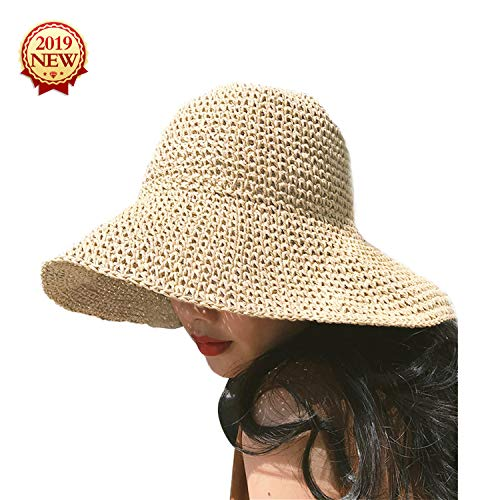 Womens Hats Compact Woman's Hat Marina Sun Hat Summer UPF 50+ Beach Outdoor Hat Straw Fishing Hats - Sun Protective Beige