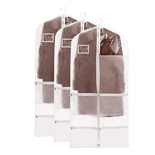 "QEES Garment Bags Dance(3 PCS), Clear Dance Garment Bags for Costume, Dream Duffel Costume Bags, Waterproof Garment Bags for Bance Costumes with 4 Large Pockets 23.6""×50"""