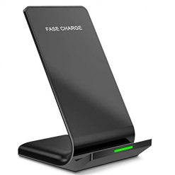 AHUTORU Fast Wireless Charger, Qi-Certified 10W Wireless Charging Stand with Quick Adapter,Compatible with iPhone Xs MAX/XR/XS/X/8/8Plus, Galaxy S10/S10 Plus/S10E/S9(with Adapter)