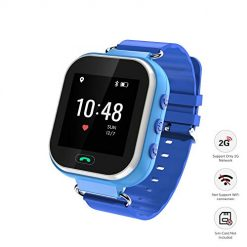 Wonbo Kids Smart Watch, GPS Phone Watch with SIM Slot SOS Call, Real-time Location Finder,Remote Monitor,Watch Remove Alert, Supports Android & iOS (Blue)