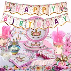 Unicorn Party Supplies Set Unicorn Party Favors For Birthday Serves 16 With Tablecloth, Cups, Plates And Decorations