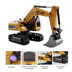 OYTRO 1:24 Four-Wheel Drive Crawler Excavator Remote Control Educational Toy with Light Toy RC Vehicles
