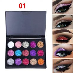 Zouvo 15 Colors Highlight Sequins Long Lasting Eyeshadow Palette Make Up Palettes Eyeshadow