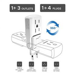 DOACE 1>3 10A Universal Travel Adapter with 3 AC Outlets, 1>4 All in One International Power Adapter, Light, Compact Size Travel Adaptor, European Wall Charger for UK, EU, AU, Asia 190+ Countries