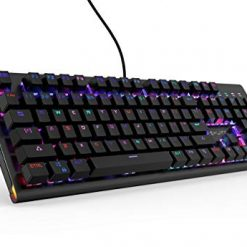 ETROBOT Mechanical Gaming Keyboard with MX Blue Switches, RGB LED Backlit and Exclusive Side Light, USB Wired Game Keyboard with Heavy Duty Aluminum Chassis, Spill-Resistant for PC Game