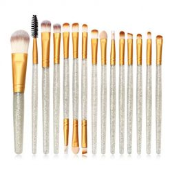 Idomeo 15 Pcs/Set Shiny Drill Handle Eyebrow Lip Blush Foundation Makeup Brush Set Brush Sets