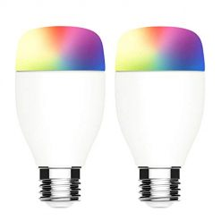 Smart WiFi Light Bulb,Color Changing LED Bulb E26 Dimmable WiFi Multicolor Light Bulb Compatible with Amazon Alexa & Google Home, No Hub Required, LINGANZH 7W RGBW WiFi Smart Bulb, 2 Pack