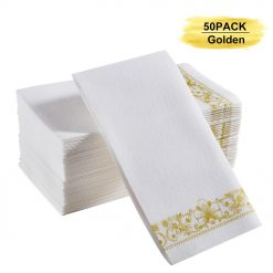 YEUNG TES Guest Hand Napkins, Linen Feel Disposable Bath Towel Durable Golden Guest Towel Also Suitable for Powder Room and Guest Room