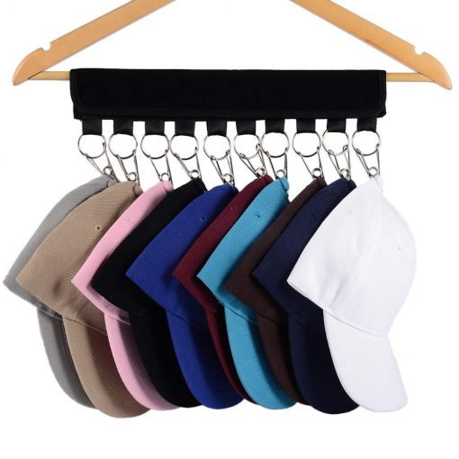 Hat Organizer ,Cap Racks ,Cap Organizer Hanger 10 Clips Stainless Steel, Hat Holder, Folding Clothes Hangers Foldable Clothes Drying Rack for Travel (Black)