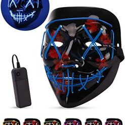 AnanBros Scary LED Halloween Mask, Masquerade Cosplay Light Up Face Mask for Men Women Kids Blue