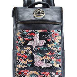 MM Chinese Retro Embroidery PU Leather Backpack Cool Daypack for Men & Women
