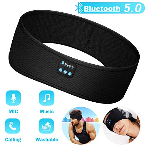 Sleep Headphones Bluetooth Headband, Soft Sleeping Bluetooth 5.0 Wireless Music Sport Headbands Long Time Play Sleeping Headsets with Built -in Speakers for Workout, Running, Yoga,Air Travel (Black)