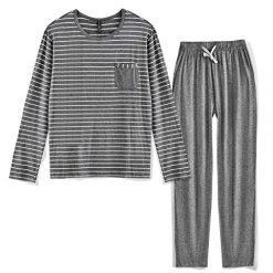 Suntasty Men's Pajamas Cotton Soft Classic Striped Crew Neck Lounge Sleepwear 2 Piece Set Long Sleeve Top with Pant Grey L