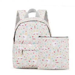 incarpo Kids Backpack Toddler School Cute Bags Lightweight Waterproof Lunch Bag with Snack Bag for Boys and Girls,Beige