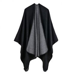 Women Pure Color Imitation Cashmere Block Shawl Wrap Open Front Poncho Cape (black)
