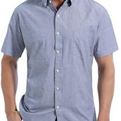 Coevals Club Men's 100% Cotton Short Sleeve Casual Button Down Shirt (#2 Gray, S)