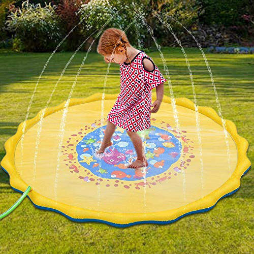 DQS Big Splash Pad - Kids Yard Sprinkler for Outside Fun Water Play- Outdoor Wading Pool for Babies and Toddlers