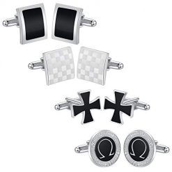 4 Pairs Mens Cufflinks Set Gift Kit for Men Weeding Groom Business Unique Shirt Vintage Tuxedo Cuff Links Silver & Black