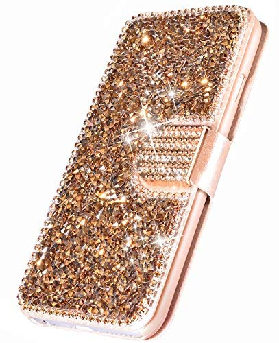 FLYEE iPhone XR Case,iPhone XR Wallet Case, [Kickstand] Bling Rhinestone Flip Case Magnetic Crystal Protective Leather with Card Slot for iPhone XR 6.1 inch Rose Gold...