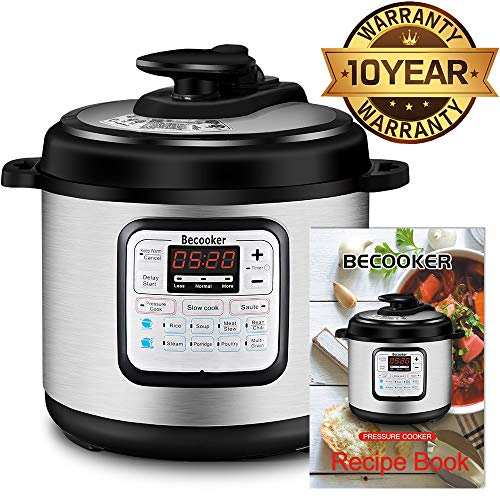 Becooker 11-in-1 Multi Programmable Electric Pressure Stainless Steel Pot, Rice, Slow Cooker, Meat Stew, Sauté, Steamer, and Warm, 4 Quart, Black