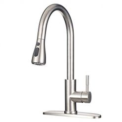 Stainless Steel Faucet with Pull Down Sprayer MSTJRY Commercial Single Handle Kitchen Sink Faucets 16.5