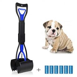 UPSTONE Folding Pets Pooper Scooper Set for Dogs with Poop Bags Waste Pick up Best Long Handle Scoop Easy to use Portable and Heavy Duty with Jaw Claw Bin (23.5 inches) Blue