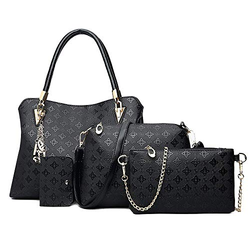 Women's Pu Leather Tote Purse and Handbags Set Satchel Shoulder Crossbody Bag 4pcs Clutch Wallets for Ladies (Black)