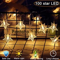 Star String Lights 100 LED 40 FT Plug in Fairy bedroom Twinkle Lights Waterproof Extendable for Indoor Outdoor Wedding Party Christmas Tree New Year, Garden Decoration Warm White (Star String Lights)