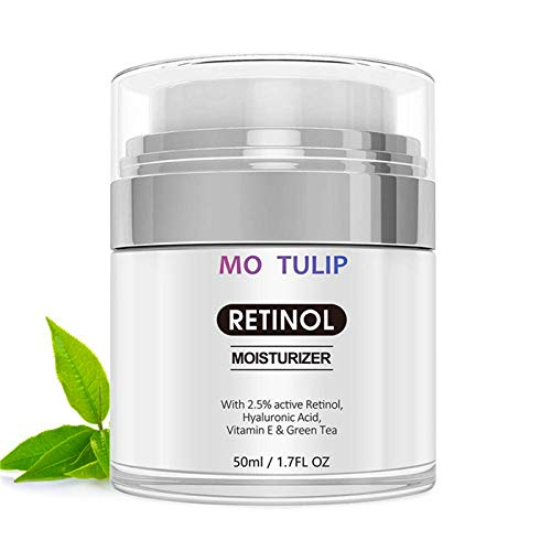 Retinol Moisturizer Cream for Face, with Retinol, Hyaluronic Acid, Vitamin E and Green Tea. Best Night and Day Moisturizing Cream 1.7 fl oz. Anti Aging Face Cream to Reduce Wrinkles & Fine Lines