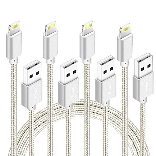 NANMING (3ft,6ft,6ft,10ft) Phone Cable Nylon Braided Data Syncing Charging Cable Cord to USB Chargers Compatible with PhoneX/Phone8/8Plus/7/7Plus/6/6s/6Plus and More (Silver)