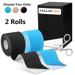 "2 Pack Aollop Kinesiology Tape with Free Folding Scissor- Best Pain Relief Elastic Therapeutic Sports Tape for Muscle Joint ,Plantar Fasciitis, Knee Shoulder,Waterproof,Latex Free,Uncut 2"" x 16.5 ft"