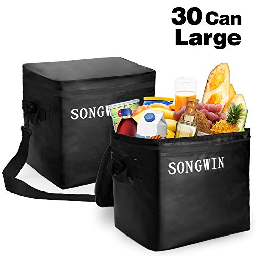 Songwin Portable 30 Can Large Cooler Bag,Waterproof Zipper and 100% Leakproof,Insulated Lunch Bag for Hiking,Camping,Sports,Picnics BBQ,Sea Fishing,Road Beach Trip.