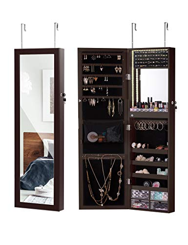 LUXFURNI LED Light Jewelry Cabinet Wall-Mount/Door-Hanging Mirror Makeup Lockable Armoire, Large Storage Organizer w/Drawers