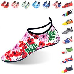 LYSHION Water Shoes Barefoot Quick-Dry Ultra-Light Breathable Aqua Socks for Beach Yoga Swimming Exercise Unisex, Pink Flower, Size 38-39