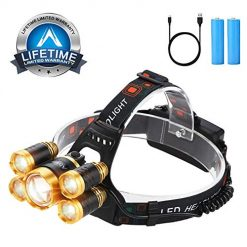 Headlamp 12000 Lumen Brightest LED micro-USB Rechargeable Head Lamp, 4 Modes IPX4 Waterproof Zoomable Work Headlight Best Headlamps for Camping Hiking Outdoors Hard Hat