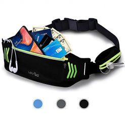 BASEIN Fanny Pack Slim Soft Outdoor Dual Pouch Sweatproof Reflective Running Belt Waist Pack for Hiking Fitness - Adjustable Waist Pouch for All Kinds of Phones(Black)