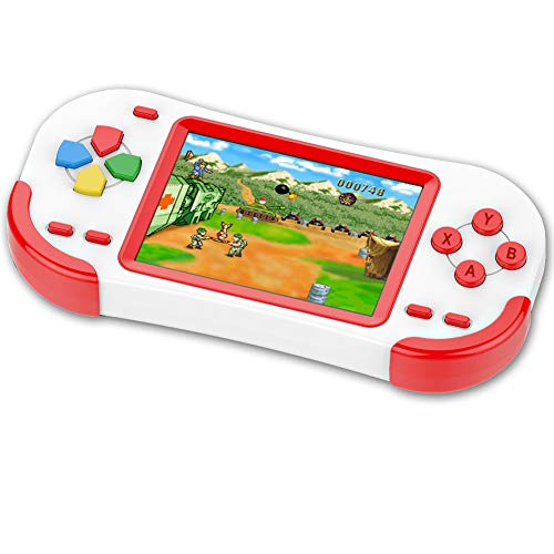TEBIYOU Handheld Game Console for Kids Portable Video Game Player with Built in 16 Bit 220 HD Classic Games 3.0'' Large Screen Electronic Handheld Games for Seniors Adults Children Birthday Gift(Red)