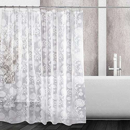 KZUXUN PEVA Shower Curtain Liner Semi-Transparent Waterproof for Bathroom with 12 Metal Hooks 72x72 Inches - 5G Dandelion