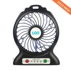 Portable USB Fan Battery Operated Fan with Flashlight, COO 3 Speeds Quiet Powerful Rechargeable Desk Fan for Phone Charge, Outdoor, Office, Backpacking