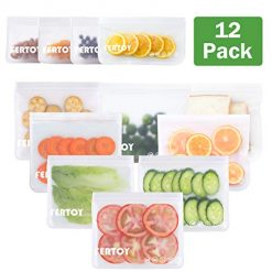 FERTOY Reusable Storage Bags, 12 Pack Leakproof Freezer Bags(8 Reusable Sandwich Bags & 4 Reusable Snack Bags) Extra Thick Ziplock Lunch Bag for Sandwiches, Snacks, Cosmetics, Lunch, Home, Travel