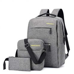 Edited 3Pcs/pack Men Simple Style Backpack Shoulder Bag Wallet Set