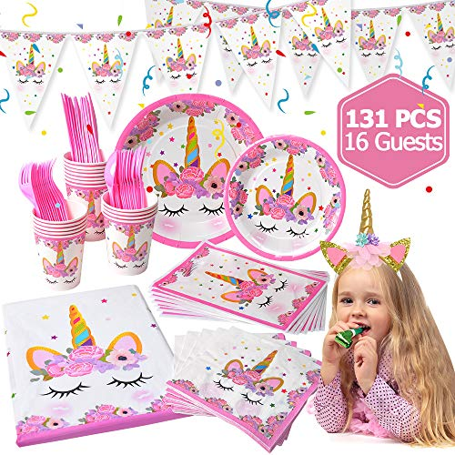LUDILO Unicorn Party Supplies and Decorations Set 131 piece for birthday party Supplies,-Serves 16 guests- Unicorn Themed Party Perfect for Girl Birthday Gift, Unicorn Headband/Unicorn Banner/Unicorn Party Favors Bag/Unicorn Tableware/Tablecloth/Napkin