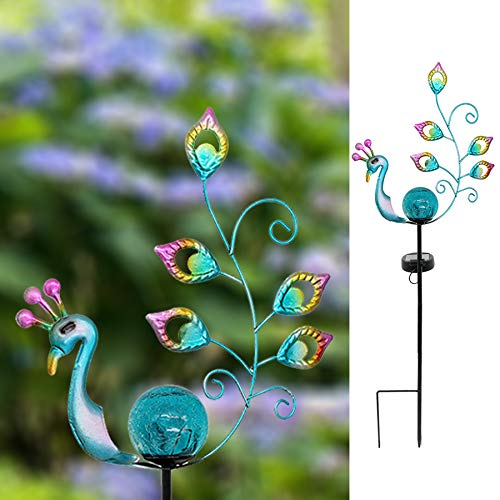 WOLUNWO Decorative Solar Powered Peacock Stake Light for Garden Patio Lawn and Backyard (Peacock 25'' Height)