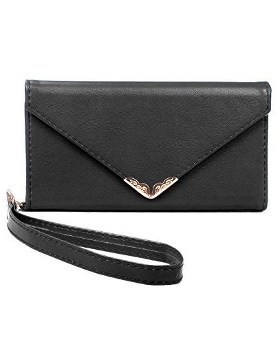 iPhone 6 Wallet Case, Crosspace iPhone 6s Envelope Flip Handbag Shell Women Wallet PU Leather Magnetic Folio Cover Cases with Credit Card ID Holders Wrist Strap for Apple iPhone 6/6s 4.7inch-Black 1