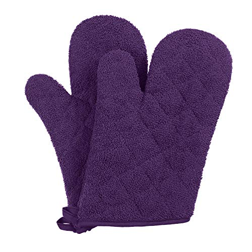 VEEYOO 100% Cotton Oven Mitts Heat Resistant Kitchen Oven Gloves Machine Washable Terry Oven Mitts (7.5x12, Light Purple)