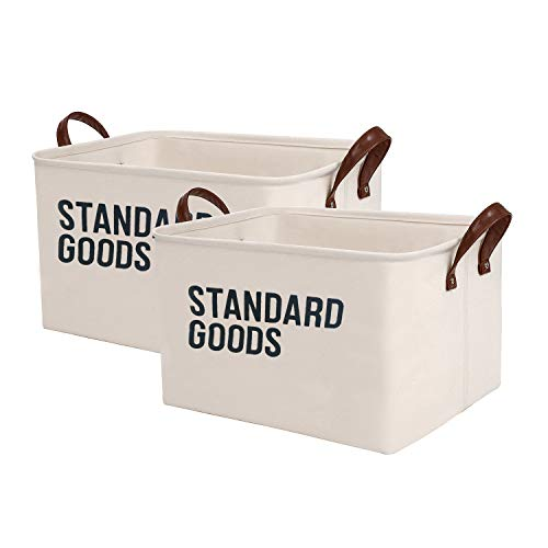 SHINYTIME Storage Baskets Bins Large Organizer Toy Laundry Storage Basket for Kids Pets Home Living Room Closet (Standard 2pcs)