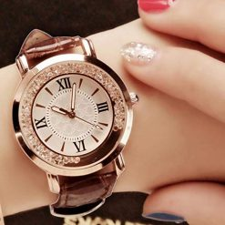 Fanala Women Fashion Round Dial Quartz PU Band Wrist Watch Gift Wrist Watches