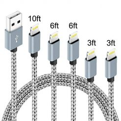 IDiSON 5Pack(3ft 3ft 6ft 6ft 10ft) iPhone Lightning Cable Apple MFi Certified Braided Nylon Fast Charger Cable Compatible iPhone Max XS XR 8 Plus 7 Plus 6s 5s 5c Air iPad Mini iPod (Gray White)